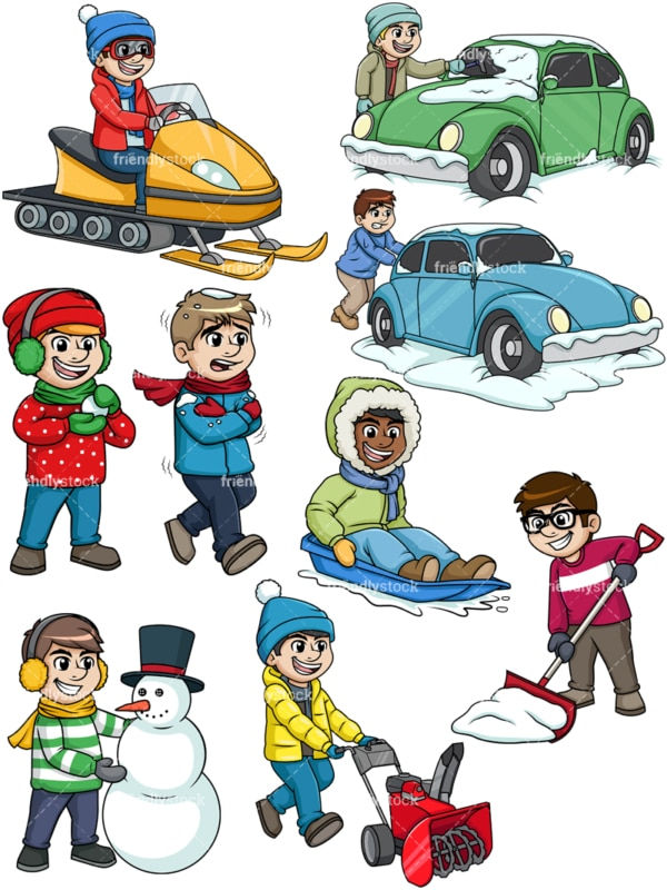 Men in the snow. PNG - JPG and vector EPS file formats (infinitely scalable).