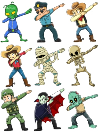 People and mythical characters dabbing. PNG - JPG and vector EPS file formats (infinitely scalable).