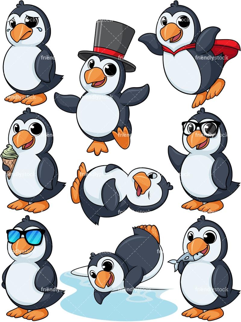 Penguin Cartoon Character Clipart Vector - FriendlyStock