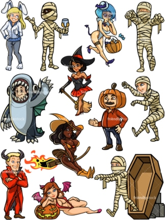 People in halloween costumes. PNG - JPG and vector EPS file formats (infinitely scalable).