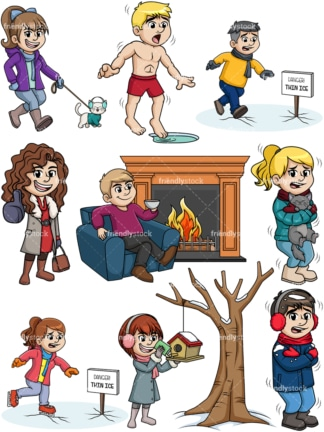 People in winter. PNG - JPG and vector EPS file formats (infinitely scalable).