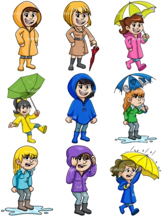 Women dressed for winter rain. PNG - JPG and vector EPS file formats (infinitely scalable).
