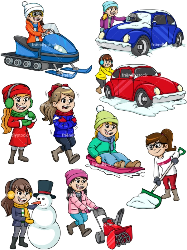 Women in the snow. PNG - JPG and vector EPS file formats (infinitely scalable).