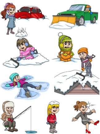 Women in the winter. PNG - JPG and vector EPS file formats (infinitely scalable).