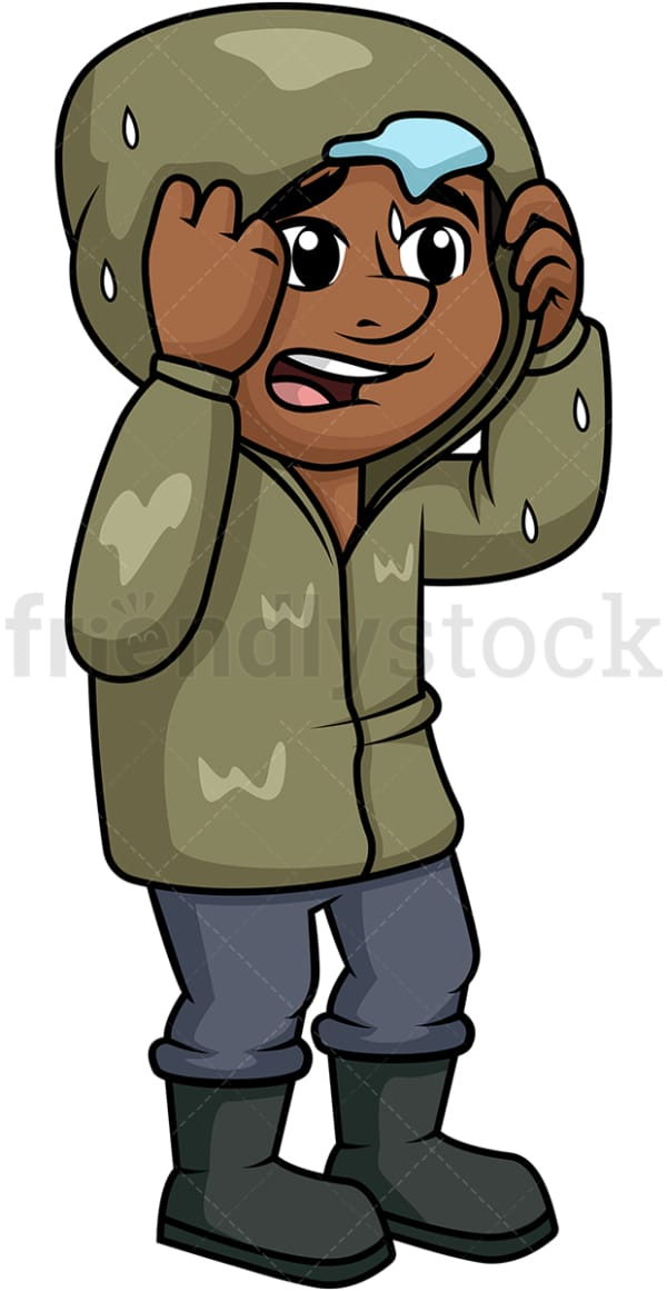 Black guy in the rain. PNG - JPG and vector EPS (infinitely scalable).