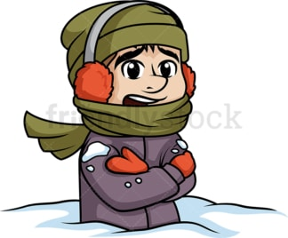Bundled up man stuck in snow. PNG - JPG and vector EPS (infinitely scalable).