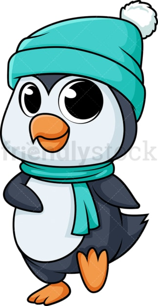 Cute penguin in the winter. PNG - JPG and vector EPS (infinitely scalable).