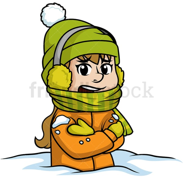 Freezing woman stuck in snow. PNG - JPG and vector EPS (infinitely scalable).
