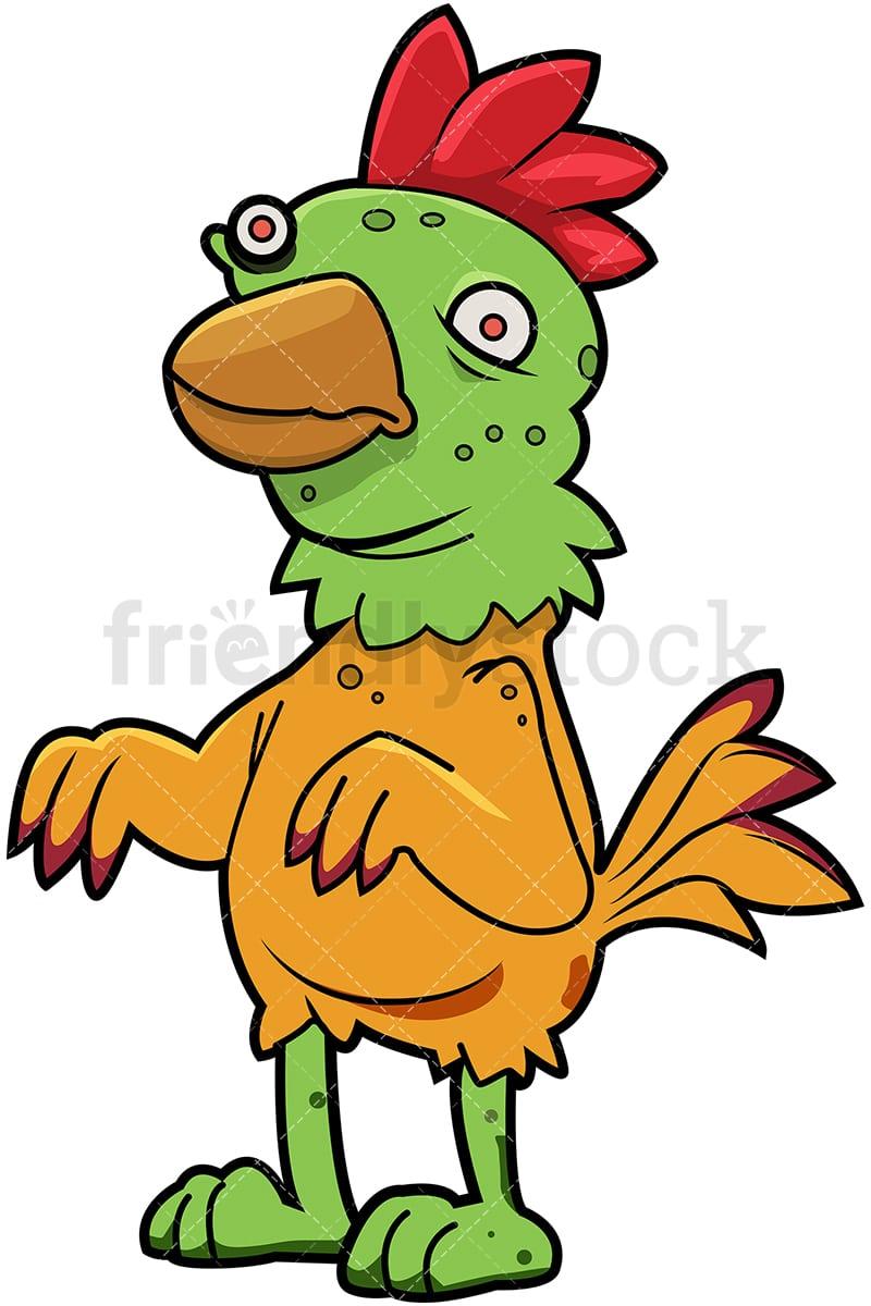 Funny Zombie Chicken Cartoon Clipart Vector - FriendlyStock