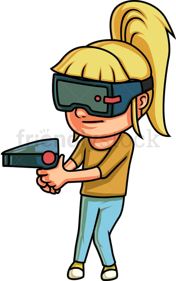 Little girl playing a virtual reality game. PNG - JPG and vector EPS (infinitely scalable).