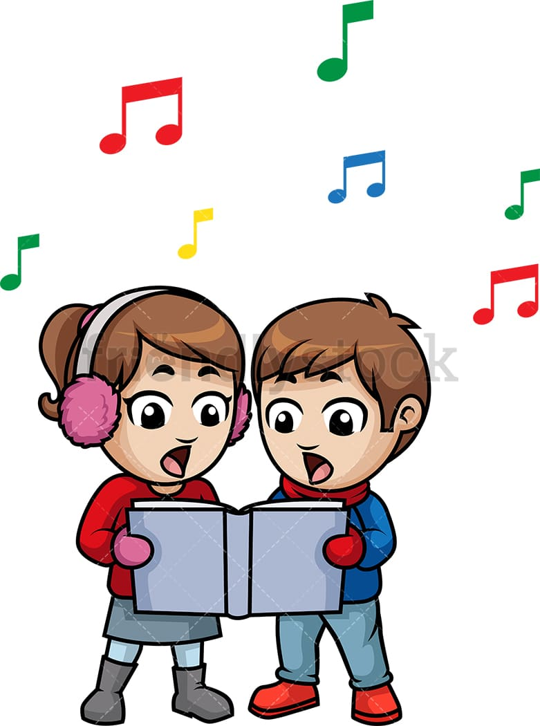 kids singing christmas carols cartoon vector clipart