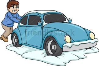 Guy pushing car stuck in snow. PNG - JPG and vector EPS (infinitely scalable).