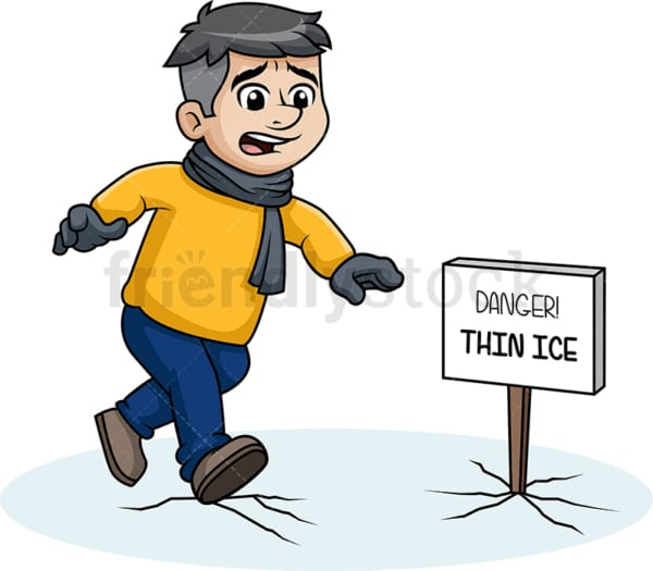 Man walking on thin ice. PNG - JPG and vector EPS (infinitely scalable).
