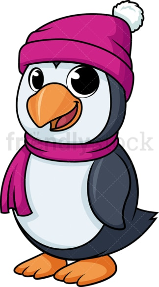 Penguin dressed up for winter cartoon. PNG - JPG and vector EPS (infinitely scalable).