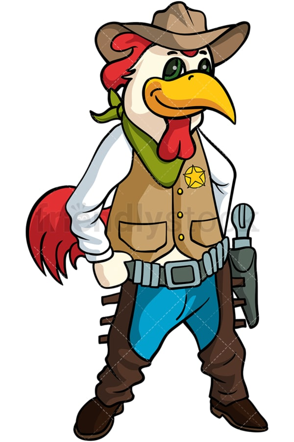Rooster cowboy cartoon. PNG - JPG and vector EPS (infinitely scalable).