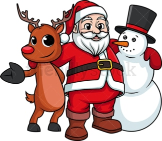 Santa claus hugging snowman and reindeer. PNG - JPG and vector EPS (infinitely scalable).