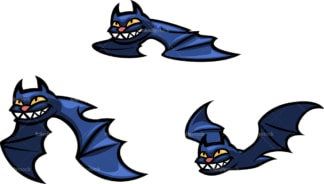 Flying halloween bats. PNG - JPG and vector EPS file formats (infinitely scalable). Image isolated on transparent background.