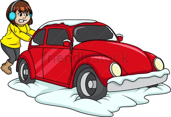 Girl pushing car out of snow. PNG - JPG and vector EPS (infinitely scalable).