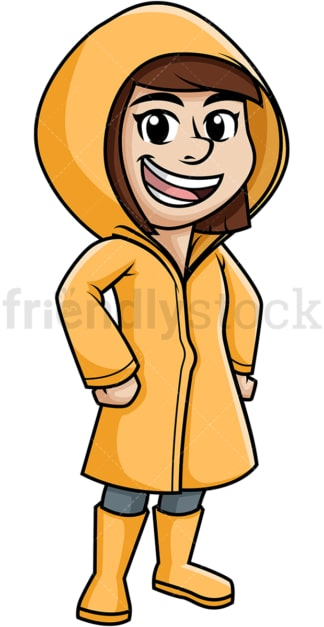 Girl wearing raincoat. PNG - JPG and vector EPS (infinitely scalable).