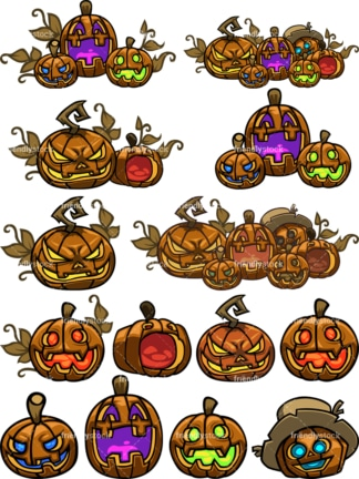 Jack-o'-lantern halloween pumpkins. PNG - JPG and vector EPS file formats (infinitely scalable). Image isolated on transparent background.