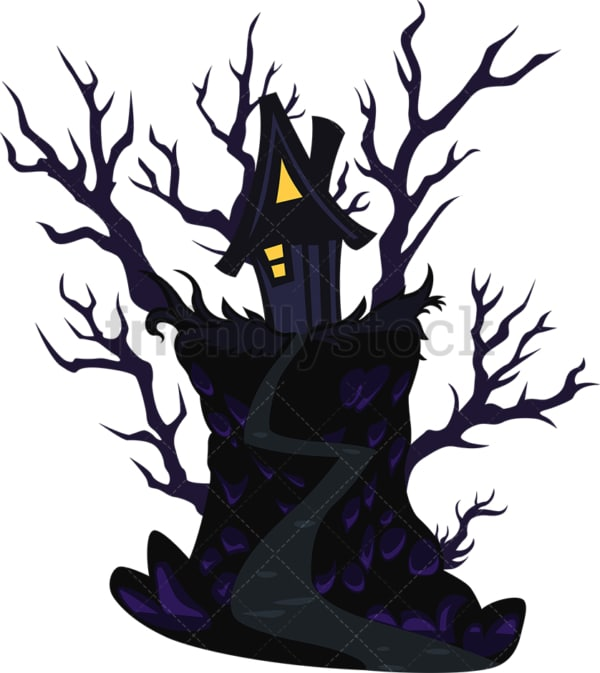 Creepy halloween house. PNG - JPG and vector EPS file formats (infinitely scalable). Image isolated on transparent background.