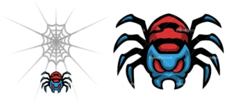 Creepy spider hanging from web. PNG - JPG and vector EPS file formats (infinitely scalable). Image isolated on transparent background.