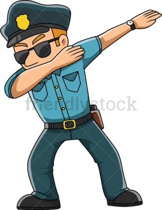Dabbing policeman cartoon. PNG - JPG and vector EPS (infinitely scalable).