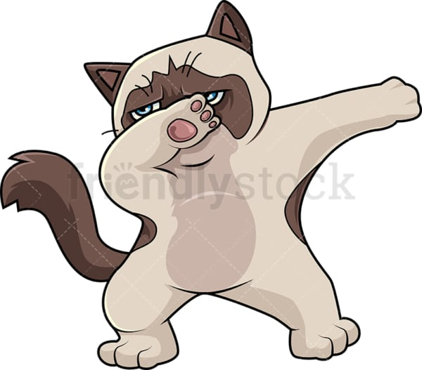 Dabbing siamese cat cartoon. PNG - JPG and vector EPS (infinitely scalable).