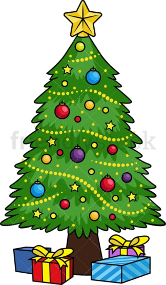 Decorated christmas tree. PNG - JPG and vector EPS file formats (infinitely scalable). Image isolated on transparent background.