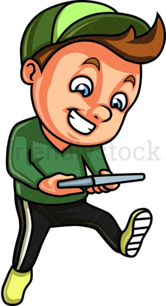 Distracted boy using tablet. PNG - JPG and vector EPS (infinitely scalable).
