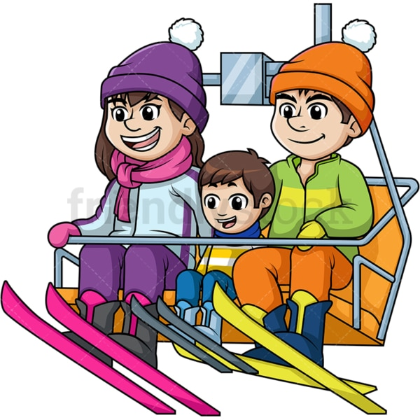 Family riding a ski lift up a hill. PNG - JPG and vector EPS file formats (infinitely scalable). Image isolated on transparent background.