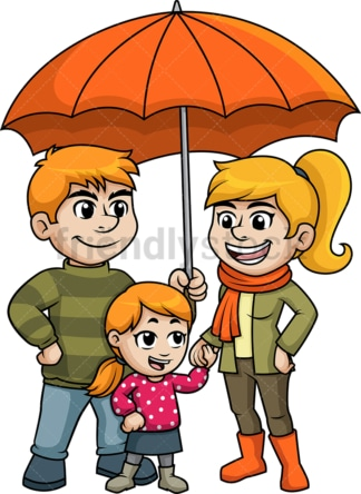 Family under umbrella. PNG - JPG and vector EPS (infinitely scalable).