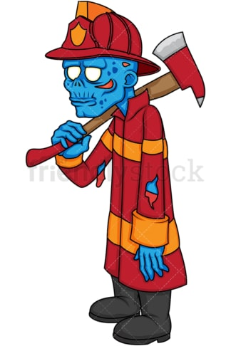 Firefighter zombie with axe. PNG - JPG and vector EPS (infinitely scalable).