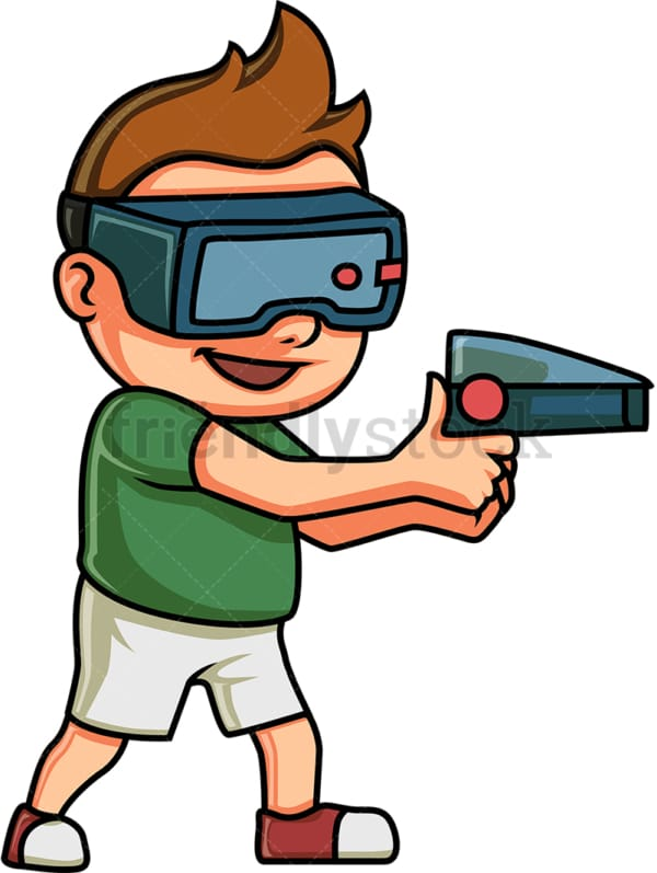 Little boy playing a virtual reality game. PNG - JPG and vector EPS (infinitely scalable).