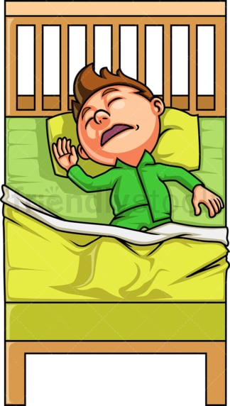 Little boy sleeping in his bed. PNG - JPG and vector EPS (infinitely scalable).
