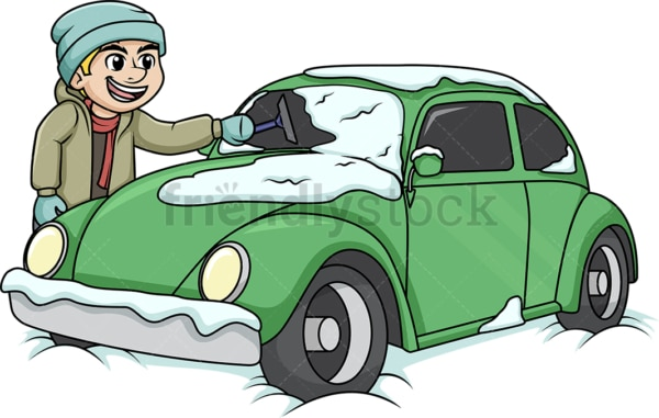 Guy cleaning snow off of his car. PNG - JPG and vector EPS (infinitely scalable).