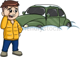 Man standing near car buried in snow. PNG - JPG and vector EPS (infinitely scalable).