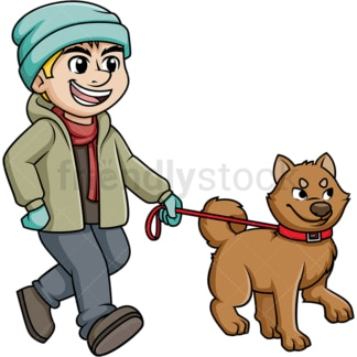 Man walking dog in the winter. PNG - JPG and vector EPS (infinitely scalable).