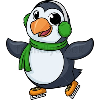 Penguin ice skating cartoon. PNG - JPG and vector EPS (infinitely scalable).