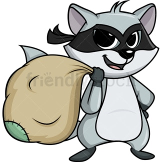 Raccoon thief carrying loot cartoon. PNG - JPG and vector EPS (infinitely scalable).