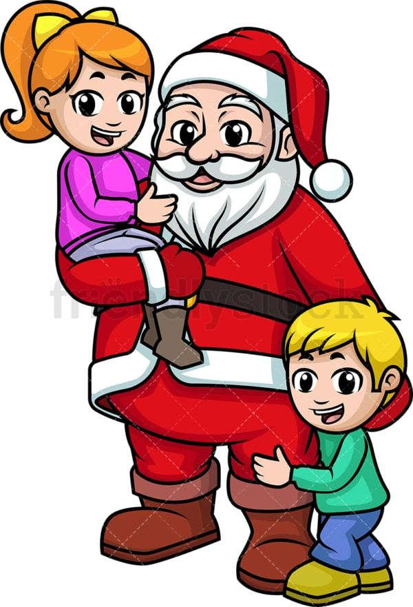 Santa claus with kids. PNG - JPG and vector EPS (infinitely scalable).