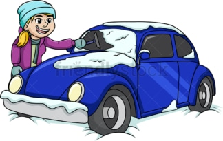Girl cleaning snow off of car. PNG - JPG and vector EPS (infinitely scalable).