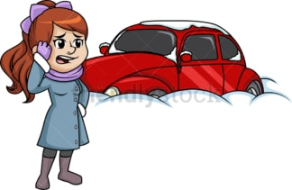 Woman shocked at her car buried in snow. PNG - JPG and vector EPS (infinitely scalable).