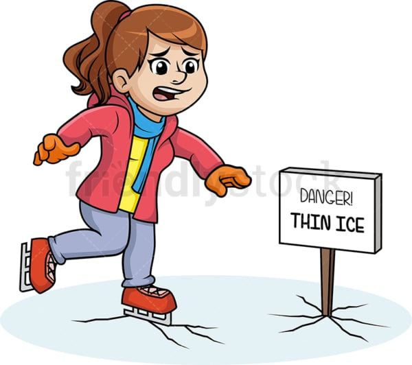 Woman skating on thin ice. PNG - JPG and vector EPS (infinitely scalable).