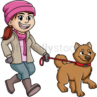 Woman walking dog in the winter. PNG - JPG and vector EPS (infinitely scalable).