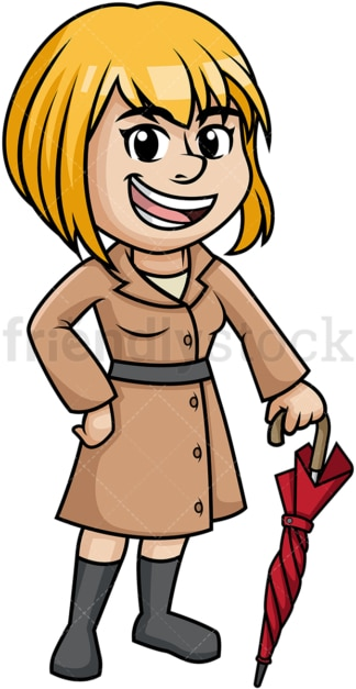 Girl wearing winter coat and holding closed umbrella. PNG - JPG and vector EPS (infinitely scalable).