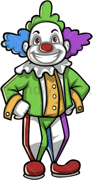 Creepy clown cartoon character. PNG - JPG and vector EPS (infinitely scalable).