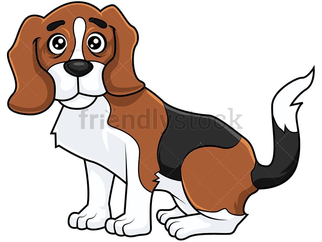 Cute Beagle Dog Feeling Sad Cartoon Clipart Vector