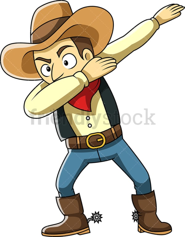 Dabbing cowboy cartoon. PNG - JPG and vector EPS (infinitely scalable).