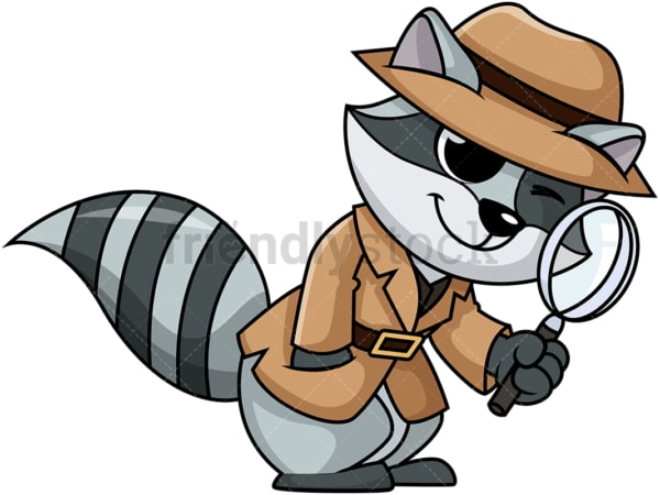 Detective raccoon cartoon. PNG - JPG and vector EPS (infinitely scalable).